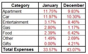 January Expense Summary